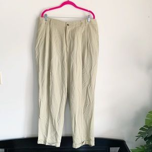 Tommy Bahama Beige Silk Pleated Trousers 38 Pants